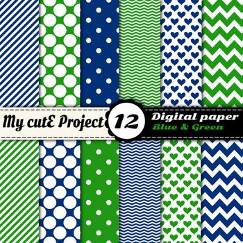 Blue and green - DIGITAL PAPER - Scrapbooking - A4 & 12x12