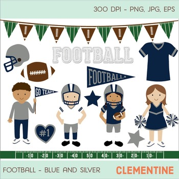 Blue and silver football clip art