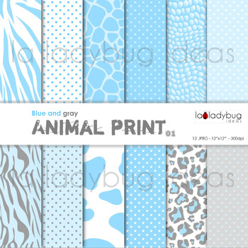 Blue animal print and dots patterns digital papers. Backgrounds.