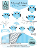 Blue boy owl clipart