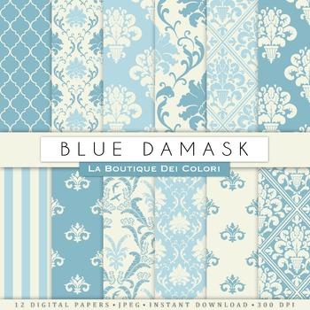 Blue damask Digital Paper, scrapbook backgrounds.