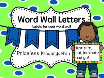 Blue dot word wall letters