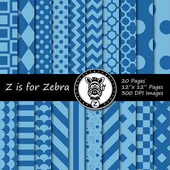 Blue dual tone Digital Paper Pack 2  - CU ok { ZisforZebra}