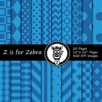 Blue dual tone Digital Paper Pack 3  - CU ok { ZisforZebra}