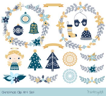 Blue gold rustic Christmas clipart set, Winter holiday wreaths, ornaments, angel