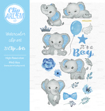 Blue gray its a boy elephant clipart crown star baby blue