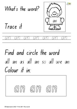 Blue level word work booklet - 100 word level