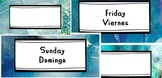 Blue ocean theme week labels/cards in two languages
