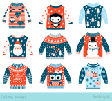 Blue red Christmas sweater clipart, Ugly Christmas sweater