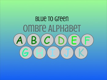 Blue to Green Ombre Alphabet