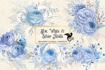 Blue White And Silver Rustic Floral Clipart Wedding Bouquets Clip Art