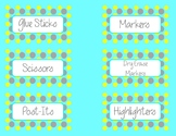Blue,yellow,grey classroom labels