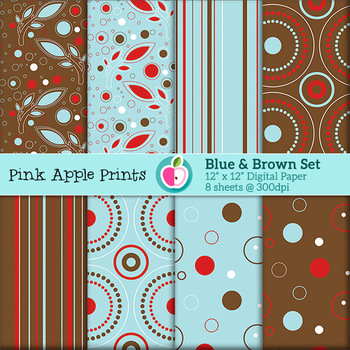 Blue Circles Stripes Leaves Style Digital Papers Set: Graphics for Teachers