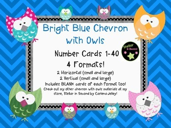 BlueChevronWithOwls- NumberCards 1-40/4 Styles-withBLANK Cards