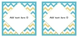 Blue/Yellow EDITABLE Chevron Labels