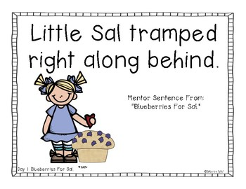 Blueberries For Sal: A Primary Mentor Sentence Unit