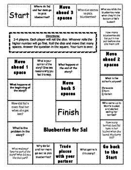 """Blueberries for Sal"" Comprehension Game Board"