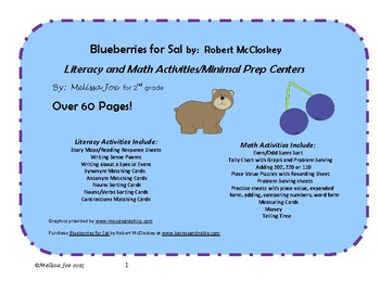 Blueberries for Sal Literacy and Math Activities/Centers Over 60 Pages!