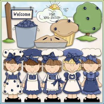 Blueberry Cuties Clip Art - Girls Clip Art - CU Clip Art & B&W