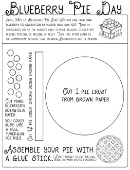 Blueberry Pie Day is April 28 Activity Sheet
