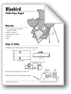 Bluebird Folded Paper Puppet