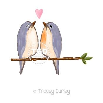 Bluebirds Art, bird clip art Printable Tracey Gurley Designs