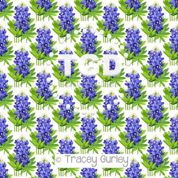 Bluebonnet on White digital paper Printable Tracey Gurley Designs
