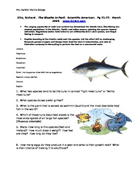 Bluefin in Peril Reading Worksheet
