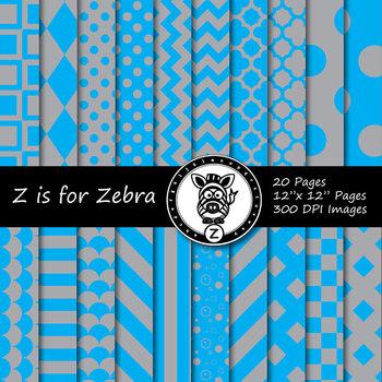 Blue/grey dual tone Digital Paper Pack 2 - CU ok { ZisforZebra}