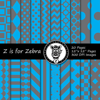 Blue/grey dual tone Digital Paper Pack 3 - CU ok { ZisforZebra}