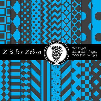 Blue/grey dual tone Digital Paper Pack 4 - CU ok { ZisforZebra}