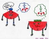 Blues Cartoon 2--Printable Montessori Fractions Cards