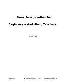 Blues  Improvisation for Beginners - and Piano Teachers