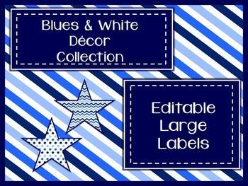 Blues & White Decor: Editable Large Labels