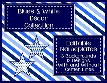 Blues & White Decor: Editable Nameplates
