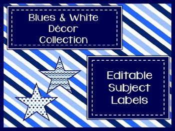 Blues & White Decor: Editable Subject Labels