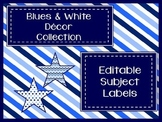 Blues & White Decor: Editable Subject Labels