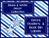 Blues & White Decor: Genre Posters & Book Bin Labels