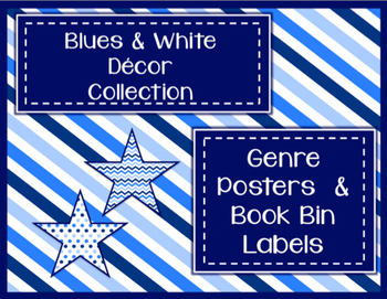 Blues & White Decor: Genre Posters & Book Bin Labels
