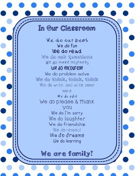 Blues & White Decor: In Our Classroom, We Do Poster