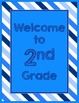 Blues & White Decor:  Welcome to ___ Grade Poster-Stripes