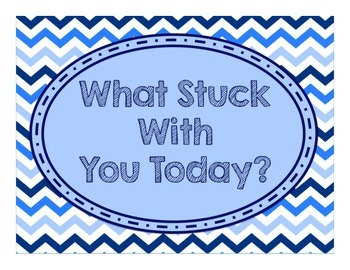 Blues & White Decor:  What Stuck With You Today? Exit Ticket Poster Kit