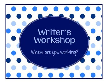 Blues & White Decor:  Writing Clip Chart