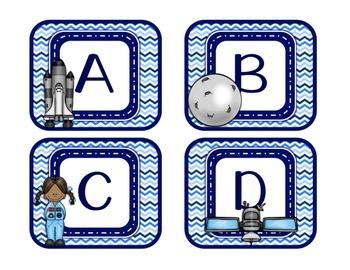 Blues & White/Space: Alphabet Labels