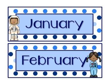 Blues & White/Space Decor: Calendar Set