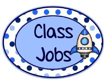 Blues & White/Space Decor: Class Jobs Header & Editable Job Labels