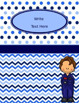 Blues & White/Space Decor: Editable Binder Covers & Spines