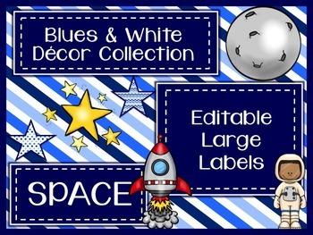 Blues & White/Space Decor: Editable Large Labels