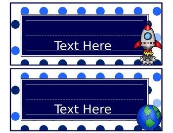 Blues & White/Space Decor: Editable Nameplates