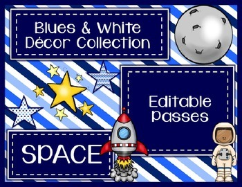Blues & White/Space Decor: Editable Passes